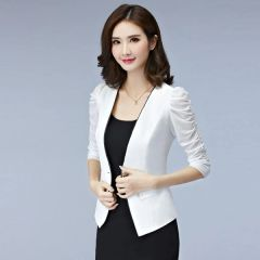 Korean Style Puff Sleeve Fitted Blazers For Woman