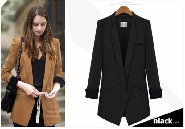 New Reaching 2014 Office Lady Coat Solid Color Long Sleeve Lapel Coat MD-Long Cotton Street Coats