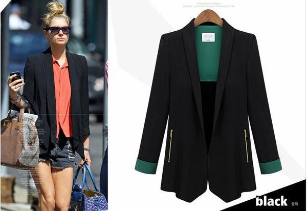 High Quality Hot Selling Coat Color Block Long Sleeve Lapel Zipper Decorated Coat MD-Long Cotton Street Coats