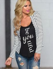 Office Lady Korean Long Sleeve Striped V Neck Fitted Simple Design Blazers