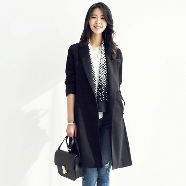 OL Style Turndown Collar Blazers Cardigan Black Coats