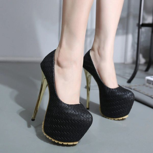 Size 34-40 Super High Heel Weave Platform Pump