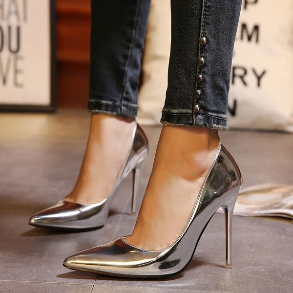 Sexy Plus Size Shoes Pointed Toe Slip On Stiletto Heels