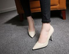Simple Design Pointed Toe Thin Heel Casual Pump