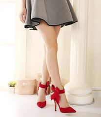 Bowknot Thin High Heel Red Pumps Ponied Toe Wholesale Pumps