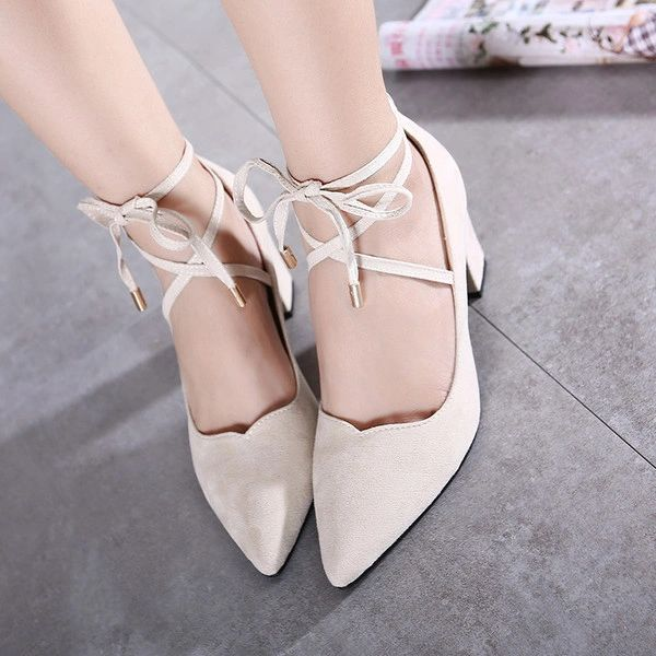 Simple Style Cross Bandage Chunky Suede Fashion Pump