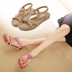 Classical Look Diamond Flower Simple Flat Sandal