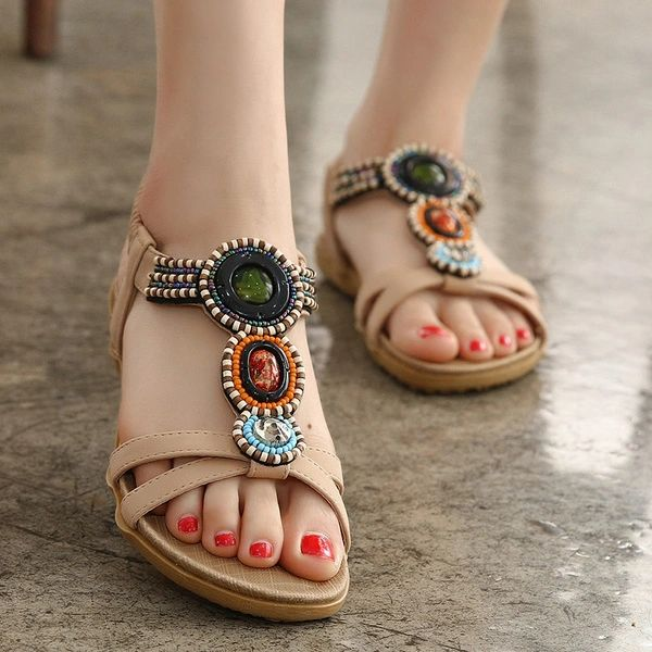 Bohemian Fashion Beading Flat Casual Women Sandal