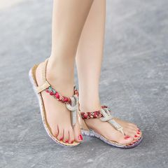 Newest Toe Post Diamond Flat Casual Women Sandal