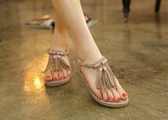 Hot Sale Tassels Toe Post Wedge Women Sandal