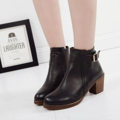 Lady Like Round Toe Chunky Classic Style Ankle Boot