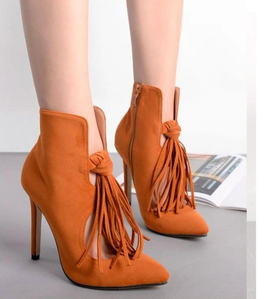 Winter Fashion Tassel Pointed Toe Stiletto Women Boots