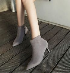 Concise Style Elegant Solid Color Pointed-toe Zipper Ankle Boot