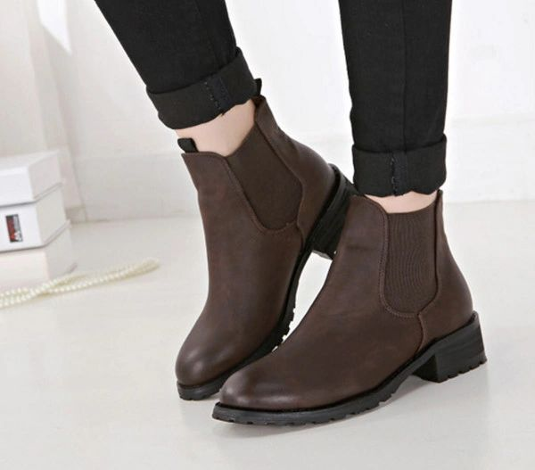 Popular Style Round Toe Casual Chunky Ankle Boot