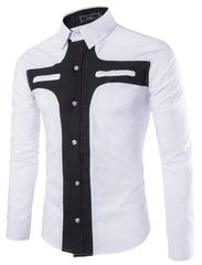 Unique Design Color Block Casual Shirt