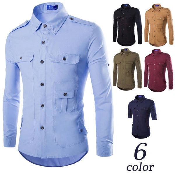 Chic Men Solid Long Sleeve Cheap Shirt