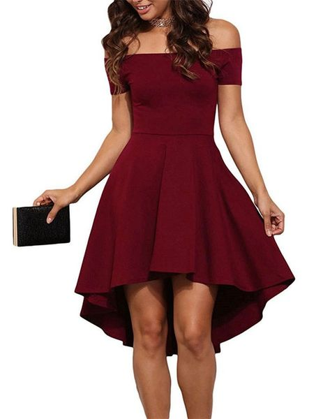 Euro Off Shoulder High-Low Party Dress