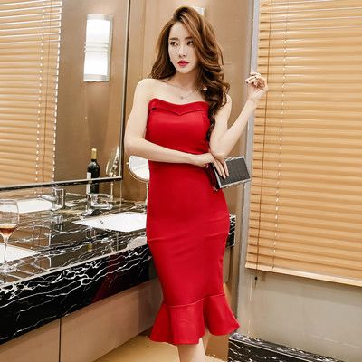 Korean Off Shoulder Mermaid Women's Dresses