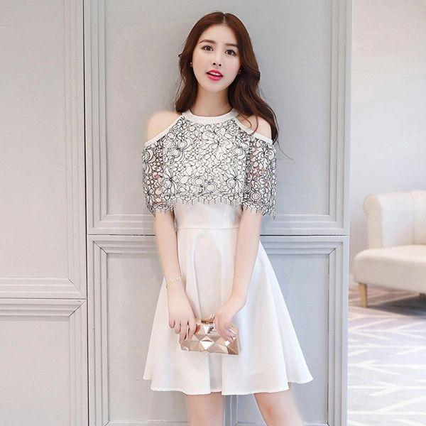 Cold Shoulder Lace Panel Cap Sleeve Dress