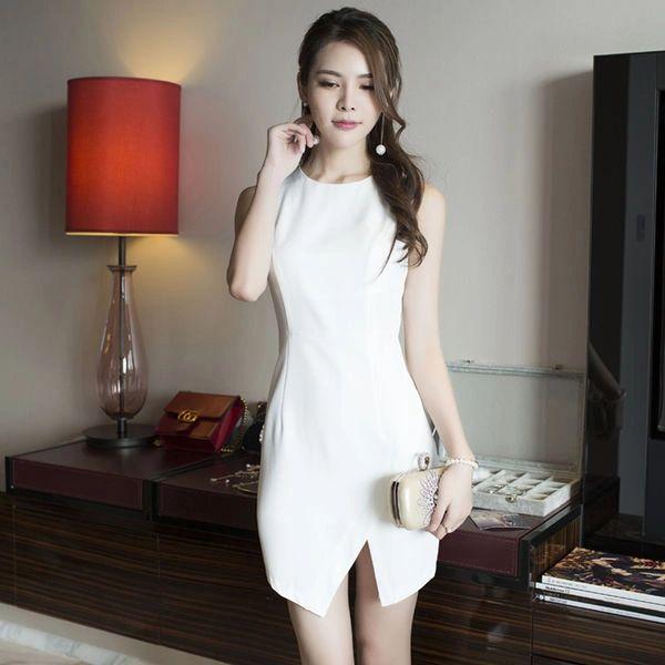 White Korean O Neck Slit Dress