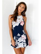 Halter Floral Printing Beach Backless Dresses