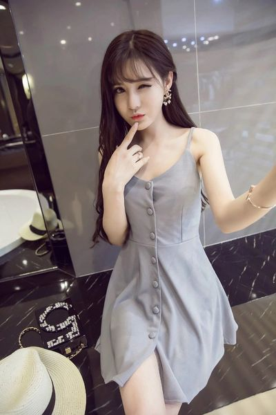Korean Design Single-breasted Smart Waist Straps Dress