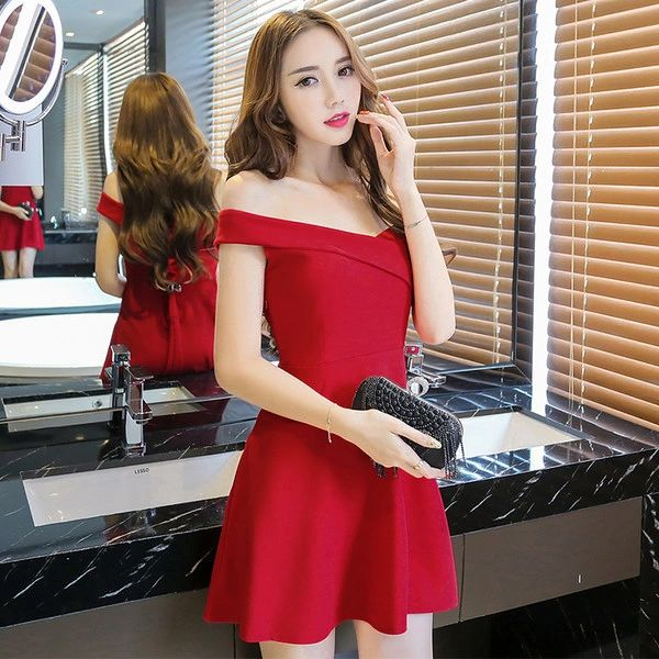 Outlet Sexy Backless Boat Neck Slim Short Dress