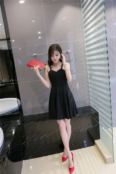 Korean Sexy Backless V Neck Slim Spaghetti Dress