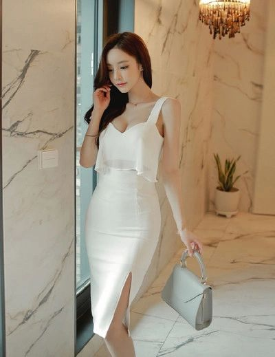 New Chic Slit Side White Pencil Dress