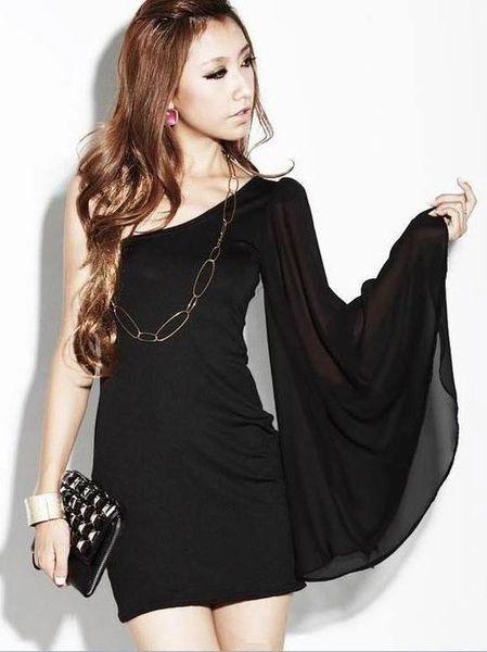 Sexy Inclined Shoulder Asymmetrical Chiffon Dress