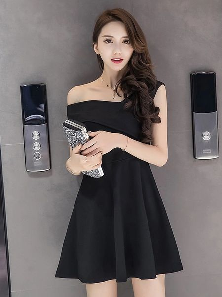Boat Neck Sexy Solid A-Line Night Club Dresses