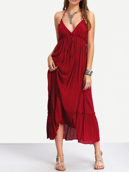 Euro Style High Waist Halter Long Beach Dresses