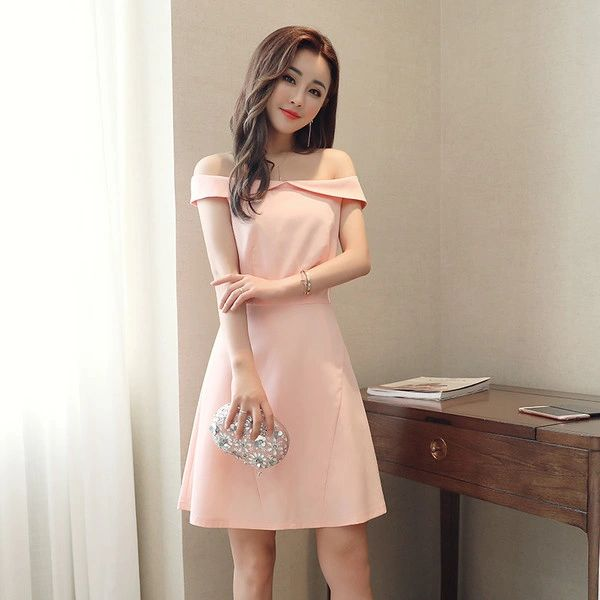 Boat Neck A Line Pink Short Dresses