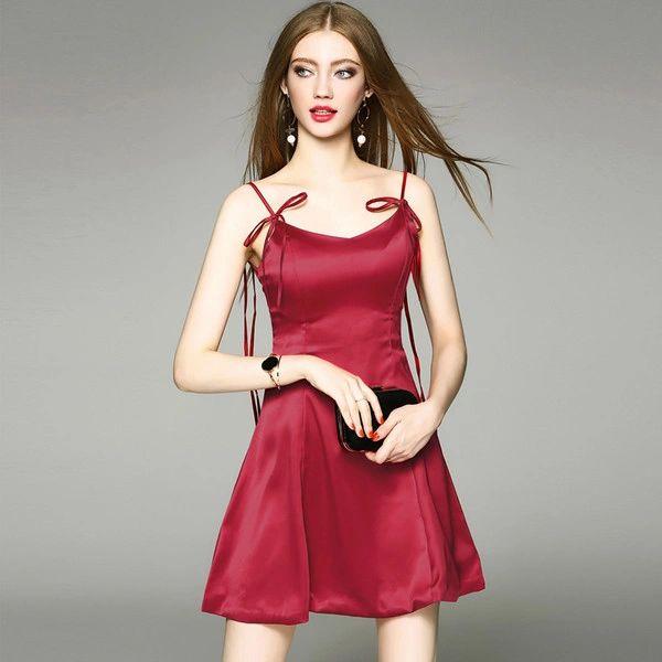Summer Spaghetti Straps Wrap Dress