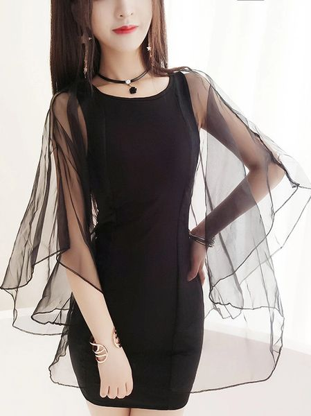 New Fashion Organza Panel Pencil Dress