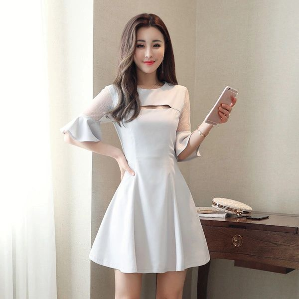 Flare Sleeve Gauze Patchwork Pretty Dresses