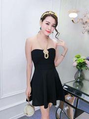 Off Shoulder Boat Neck Black Strapless Dress