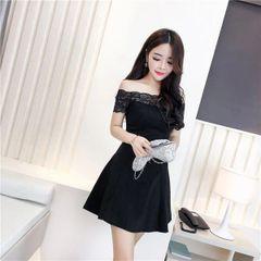 Korean Sweet Lace Patchwork Off Shoulder Slim Dress