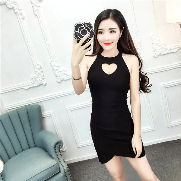 Heart Shape Hollow Out Sexy Bodycon Dress