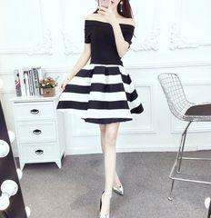Off Shoulder Striped Fluffy Dresses Summer