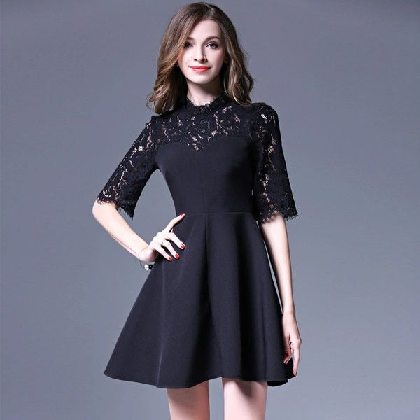 Black Turtle Neck Lace Panel Dress