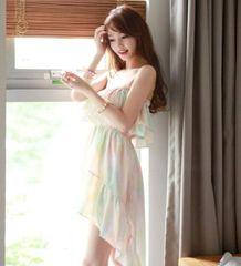Wholesale New Modern Style Chiffon Ruffles Sleeveless Sleeveless Swallowtail Hem Gradient Tube Top Dress