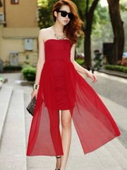 Brand New Pleated Asymmetrical Off Shoulder Red Tube Dress