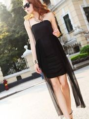 Sexy Summer Pleated Asymmetrical Design Black Tube Dress