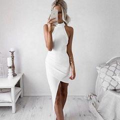 Off Shoulder O Neck Sexy White Dress