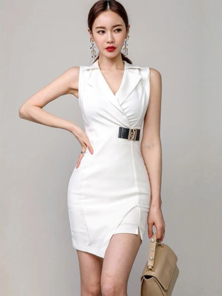 Korean Design Turndown Collar Zipper Short Dresses
