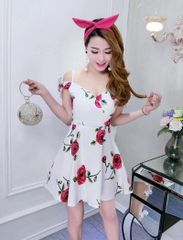 Sexy Cut Out Shoulder Floral Full Dress