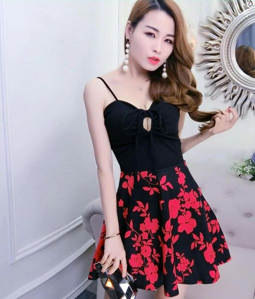 New Hollow Out Floral Prints Sexy Dress