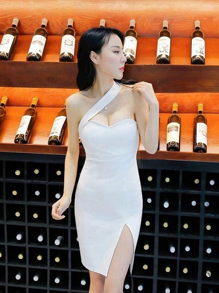 Night Club Oblique Shoulder Sexy White Dress