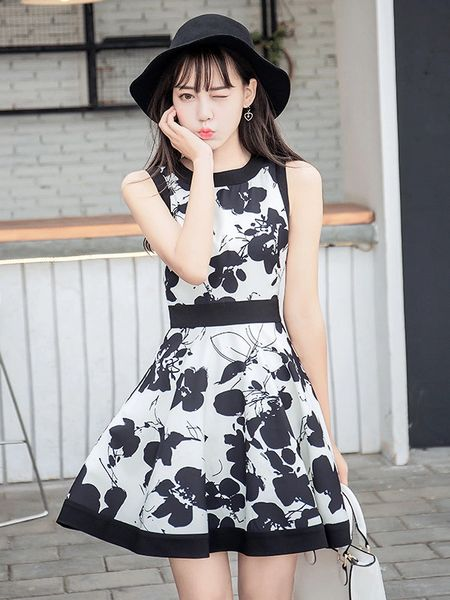 A Line Print Floral O Neck Short Dresses